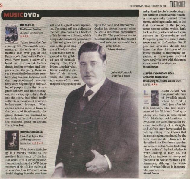 Irish Times Review -John McCormack